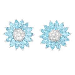 Gorgeous Aquamarine and Diamond Set Gold Earrings
