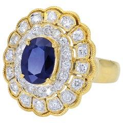 Gorgeous Art Deco Style 18 Karat Yellow Gold Sapphire and Diamond Ring