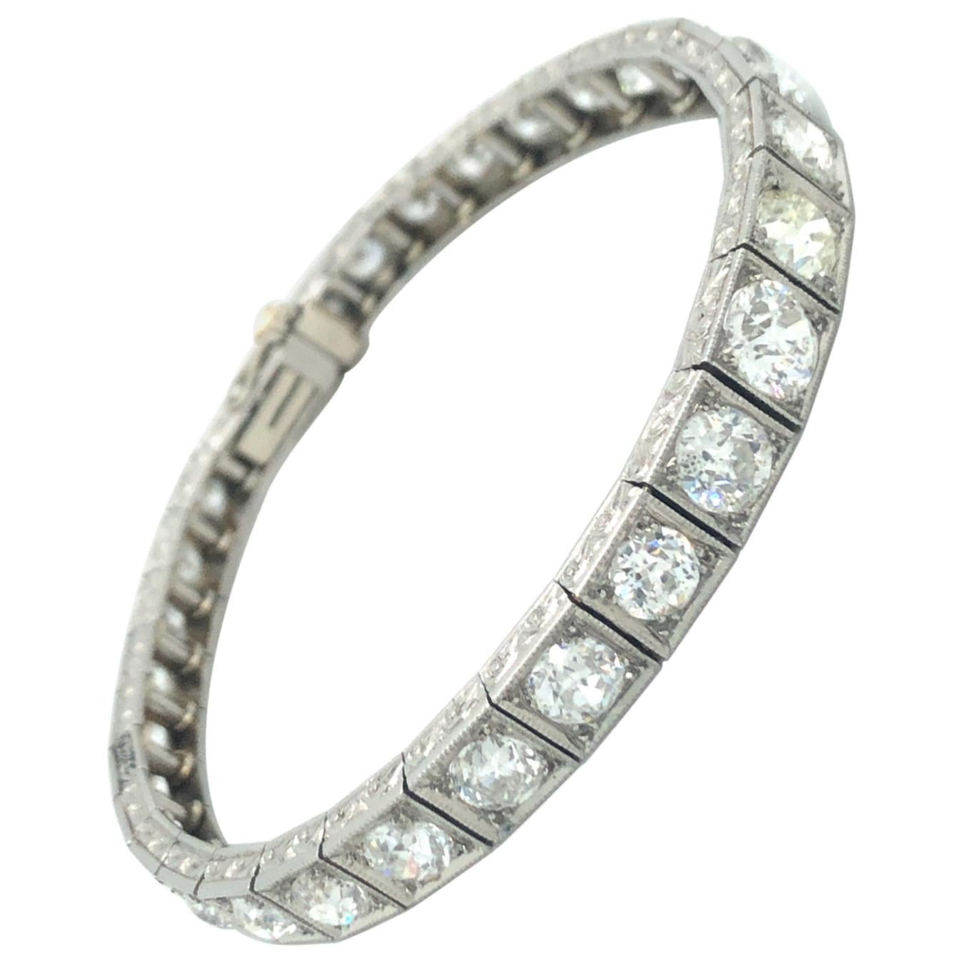 Art Deco Diamond Line Tennis Bracelet in Platinum 950
