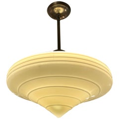 Gorgeous Art Deco Milk Glass and Brass Pendant Chandelier