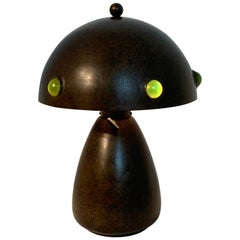 Gorgeous Arts & Crafts Bronze and Art Glass Mushroom Lamp