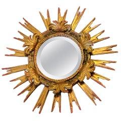 Gorgeous Austrian Starburst Sunburst Gilded Wood Mirror, circa 1920s