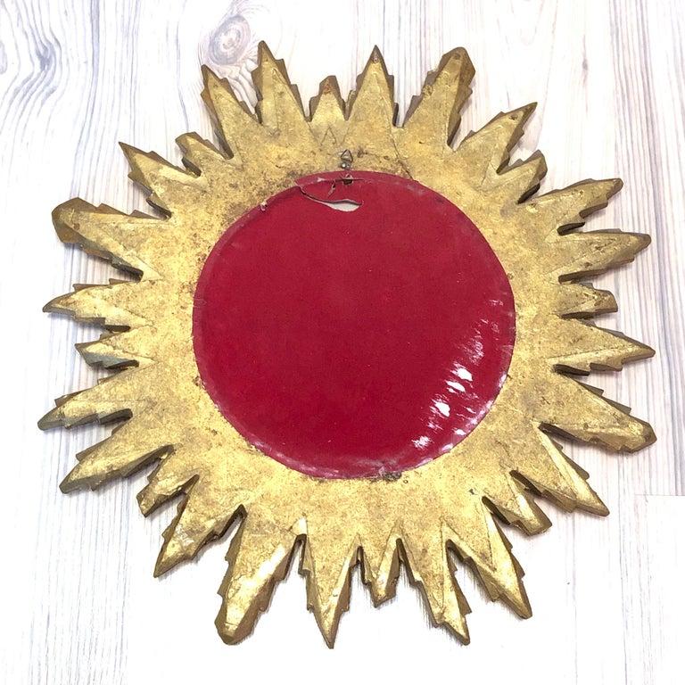 Gorgeous Austrian Starburst Sunburst Gilded Wood Mirror, circa 1960s For Sale 2