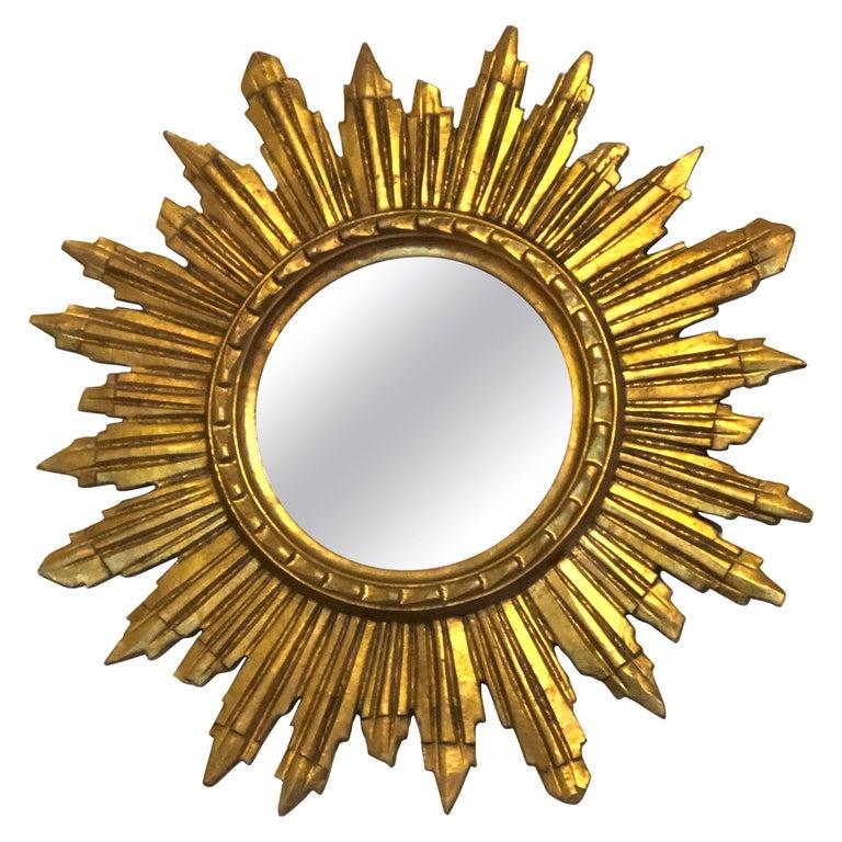 Gorgeous Austrian Starburst Sunburst Gilded Wood Mirror, circa 1960s For Sale