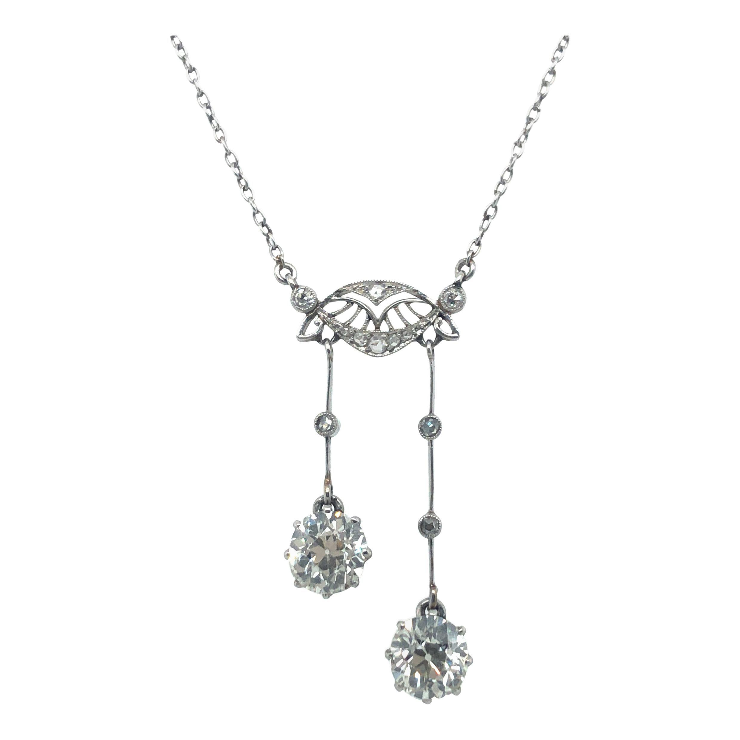 Gorgeous Belle Époque Négligée Diamond Necklace in Platinum 950