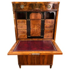 Gorgeous Biedermeier Mixed Wood and Red Leather Secretary Cabinet