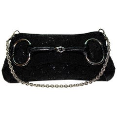 Gorgeous Black Gucci GG Monogram Beaded Crystal Exotic Skin Horsebit Bag Clutch