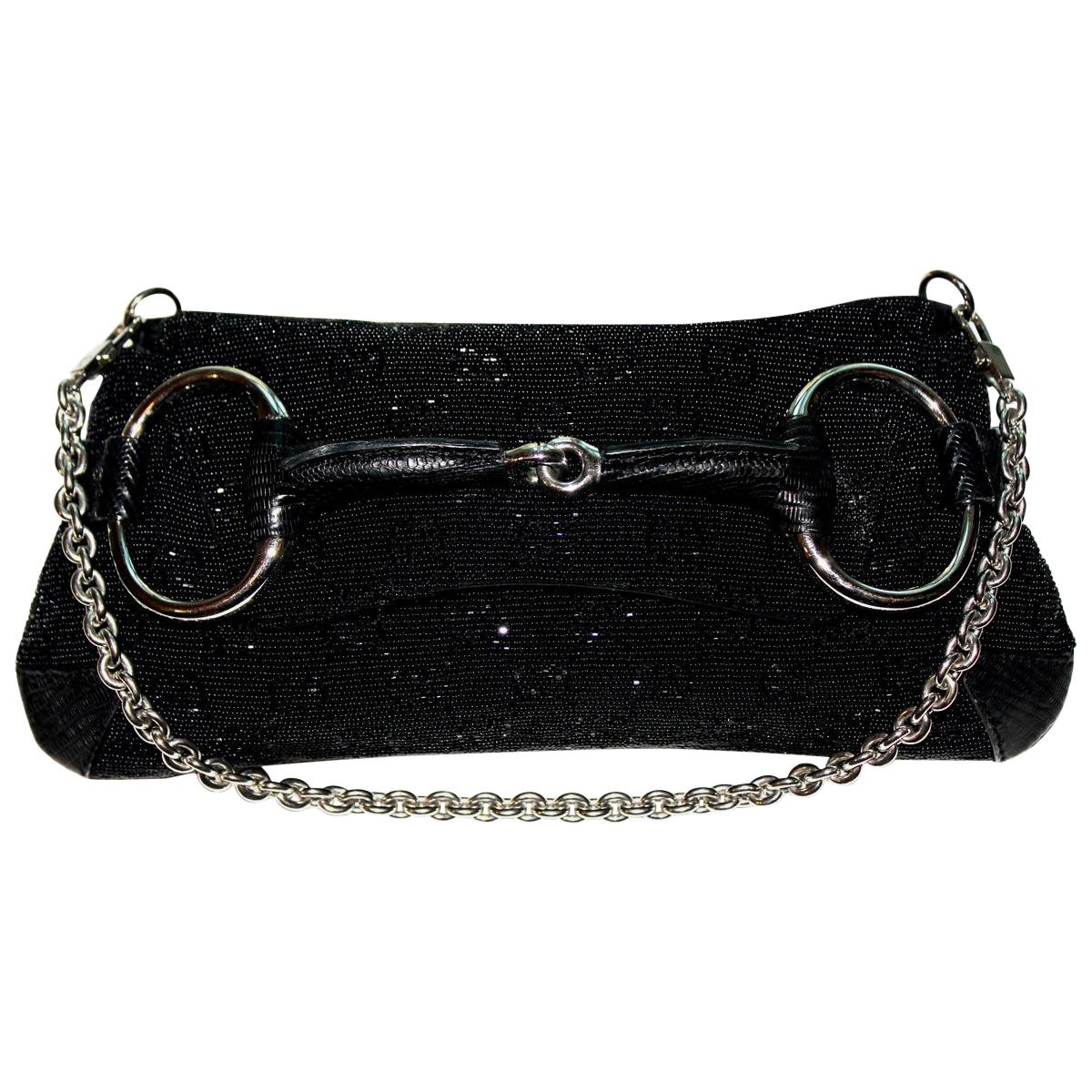 Gorgeous Black Gucci GG Monogram Beaded Crystal Exotic Skin Horsebit Bag Clutch