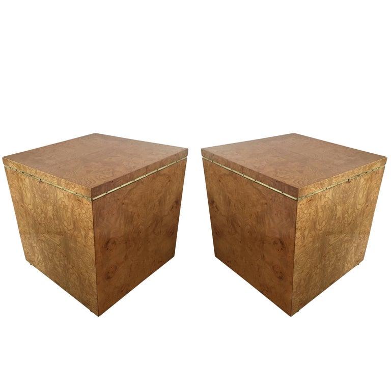Gorgeous Burl Wood Milo Baughman Style Midcentury Cube End Tables