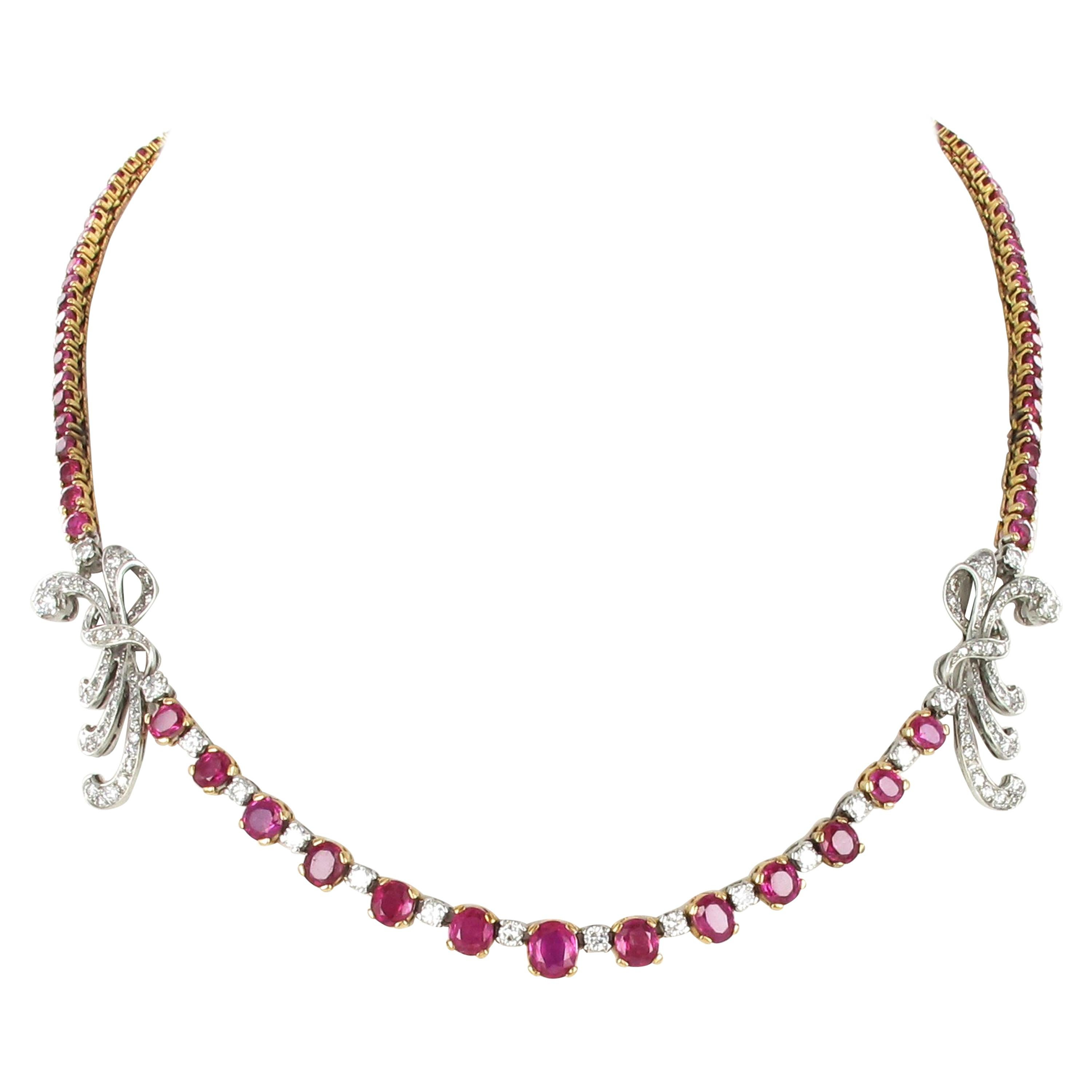 Gorgeous Burmese Ruby and Diamond Necklace in Platinum and 18 Karat Gold