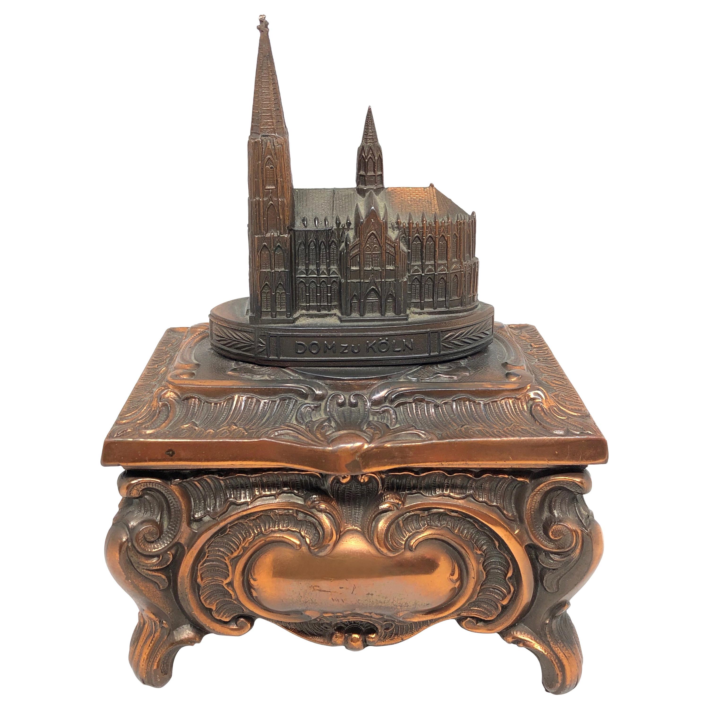 Gorgeous Cathedral Cologne Souvenir Trinket Jewelry Box Antique, German, 1950s