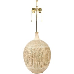 Gorgeous Ceramic Lamp in Ochre Glaze by Lee Rosen for Design Technics