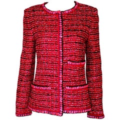 Gorgeous Chanel Chunky Maison Lesage Tweed Jacket with Crochet Knit Trimming