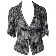 NEW Gorgeous Chanel Cropped Tweed Jacket Blazer with Braid Trimmings