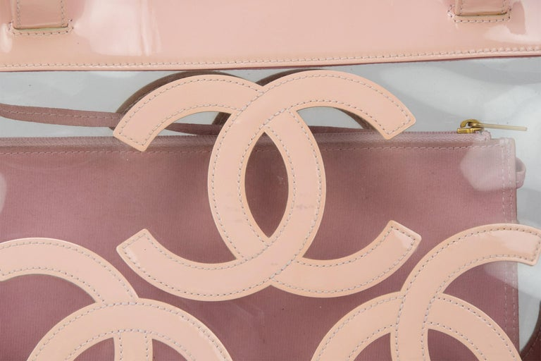 Beige Gorgeous Chanel Nude / Pale Pink patent leather CC Logo Clear Tote Bag For Sale