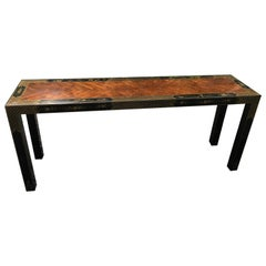 Luscious Chinoiserie Style Lacquered Mahogany and Ebonized Console Table