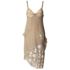 Gorgeous Christian Dior Demi-Couture Fairytale Powder Nude Silk Dress