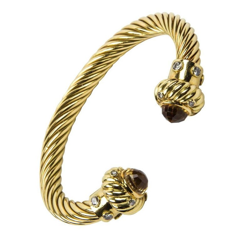 Modernist Gorgeous Citrine Diamond Gold Cuff Bangle Bracelet For Sale