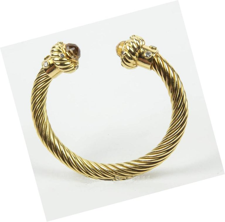 Gorgeous Citrine Diamond Gold Cuff Bangle Bracelet In Excellent Condition For Sale In Montreal, QC