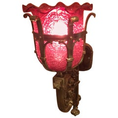 Gorgeous Cranberry Glass and Brass Wall Sconce