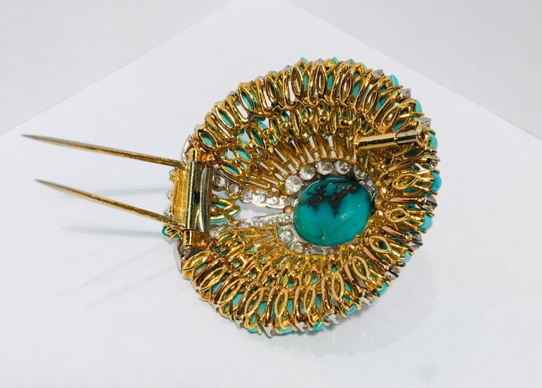 David Webb 35 Carat Persian Turquoise Diamond 18 Karat Yellow Gold Brooch Pin For Sale 6