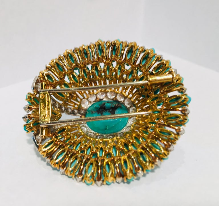 David Webb 35 Carat Persian Turquoise Diamond 18 Karat Yellow Gold Brooch Pin For Sale 7