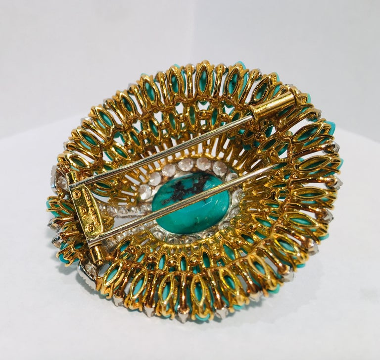 David Webb 35 Carat Persian Turquoise Diamond 18 Karat Yellow Gold Brooch Pin For Sale 8