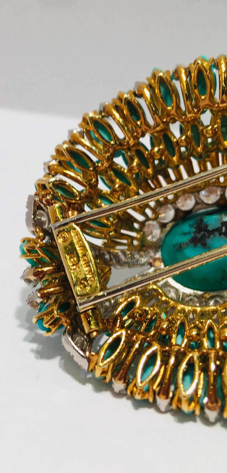 David Webb 35 Carat Persian Turquoise Diamond 18 Karat Yellow Gold Brooch Pin For Sale 9