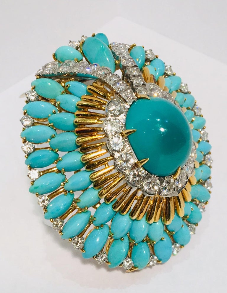 Art Deco David Webb 35 Carat Persian Turquoise Diamond 18 Karat Yellow Gold Brooch Pin For Sale
