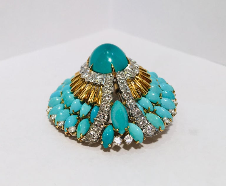 Oval Cut David Webb 35 Carat Persian Turquoise Diamond 18 Karat Yellow Gold Brooch Pin For Sale