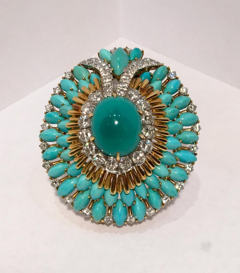 David Webb 35 Carat Persian Turquoise Diamond 18 Karat Yellow Gold Brooch Pin In Excellent Condition For Sale In Tustin, CA