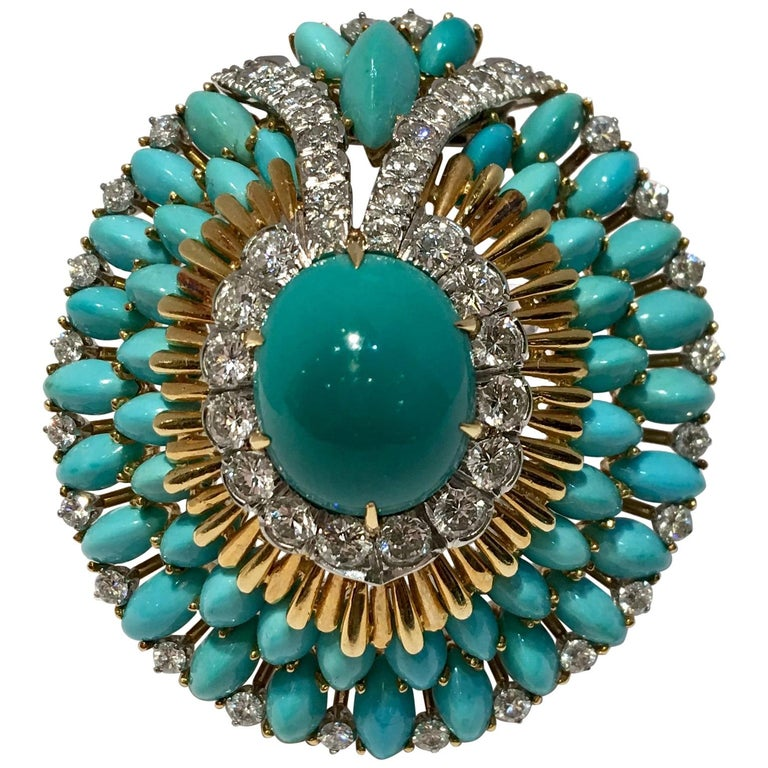 David Webb 35 Carat Persian Turquoise Diamond 18 Karat Yellow Gold Brooch Pin For Sale