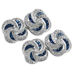 Gorgeous Diamonds Set in Platinum Cufflinks Accented by Sapphires