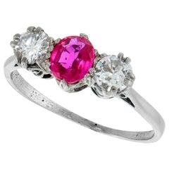 Gorgeous Edwardian Antique Platinum Ruby Diamond Three-Stone Ring