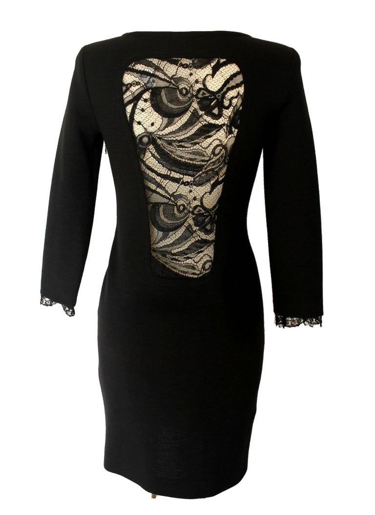 Gorgeous Emilio Pucci Black Panel Wool & Lace Dress In New Condition For Sale In Switzerland, CH