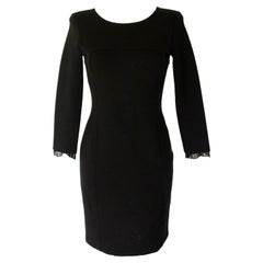 Gorgeous Emilio Pucci Black Panel Wool & Lace Dress