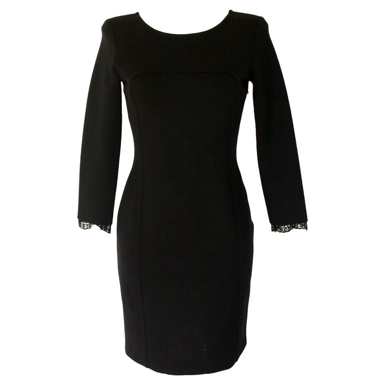 Gorgeous Emilio Pucci Black Panel Wool & Lace Dress For Sale