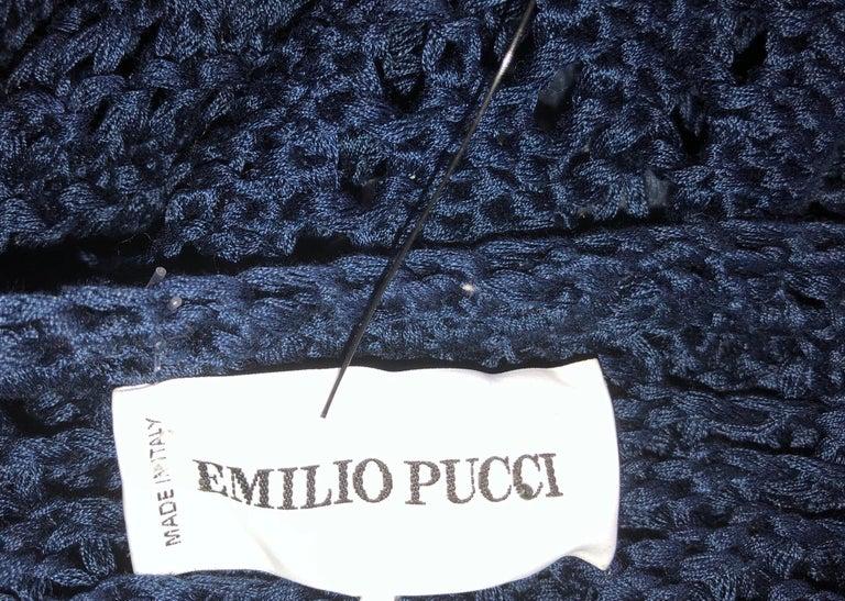 Women's Gorgeous Emilio Pucci Crochet Knit Mini Dress with Metal Details For Sale