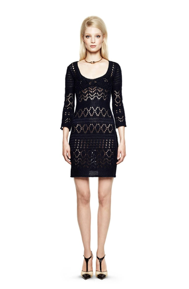 Gorgeous Emilio Pucci Crochet Knit Mini Dress with Metal Details For Sale 1