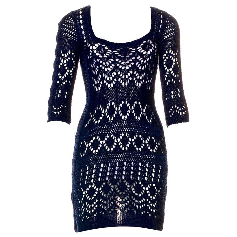 Gorgeous Emilio Pucci Crochet Knit Mini Dress with Metal Details For Sale