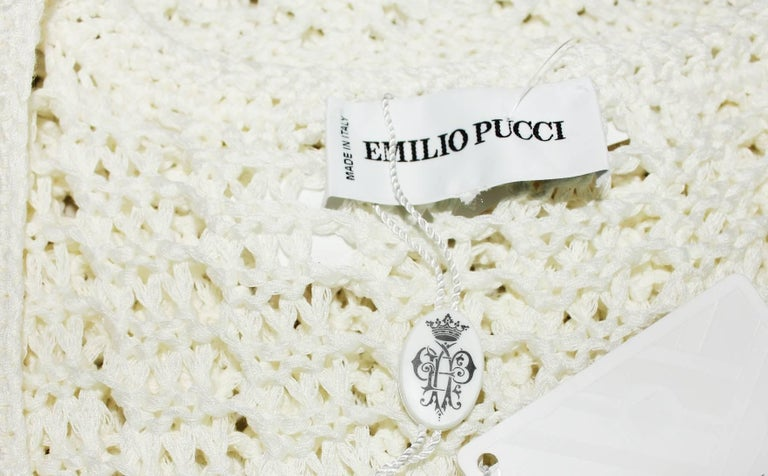 Gorgeous Emilio Pucci Ivory Crochet Knit Mini Dress with Cutout Details In New Condition For Sale In Switzerland, CH