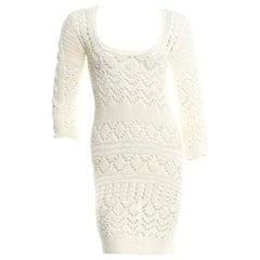 Gorgeous Emilio Pucci Ivory Crochet Knit Mini Dress with Cutout Details