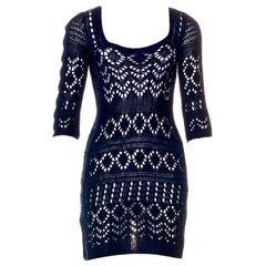 NEW Emilio Pucci Navy Blue Crochet Knit Mini Dress with Cutout Details