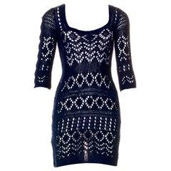NEW Emilio Pucci Navy Blue Crochet Knit Mini Dress with Cutout Details