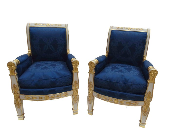 French Gorgeous Empire Pair of  Blue Bergeres Armchairs by Jeanselme, France circa 1825 For Sale