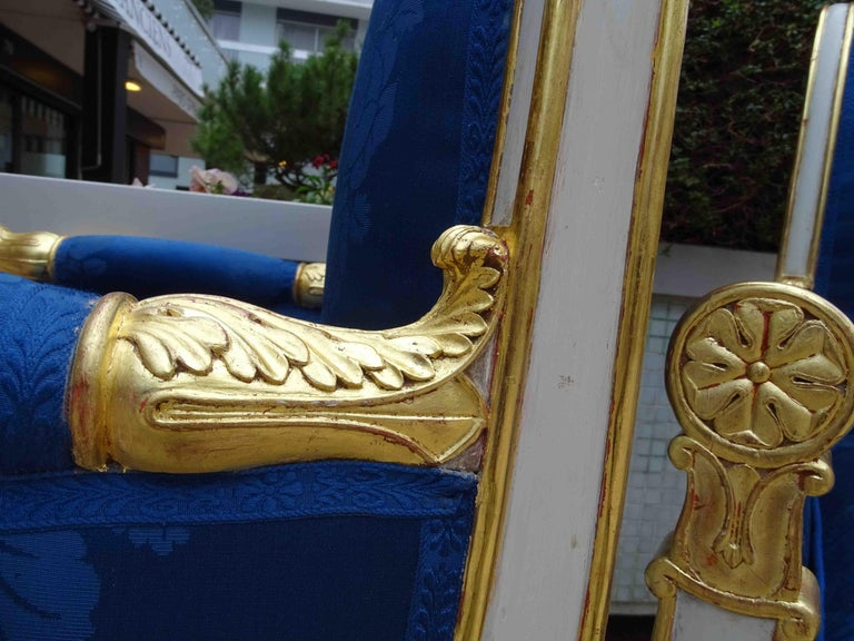 Gilt Gorgeous Empire Pair of  Blue Bergeres Armchairs by Jeanselme, France circa 1825 For Sale