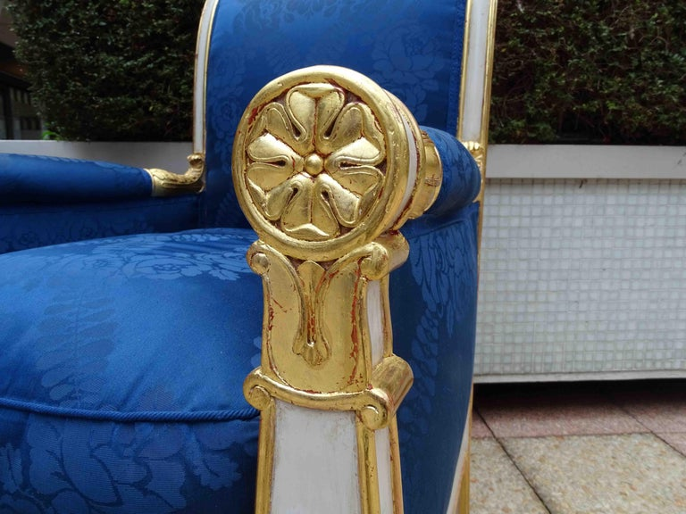 Gorgeous Empire Pair of  Blue Bergeres Armchairs by Jeanselme, France circa 1825 In Good Condition For Sale In Paris, FR