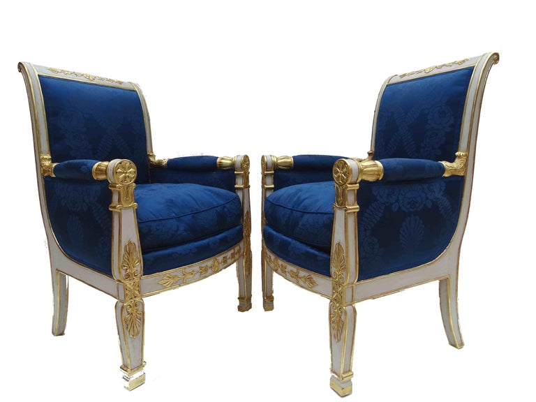 Gorgeous Empire Pair of  Blue Bergeres Armchairs by Jeanselme, France circa 1825 For Sale 1