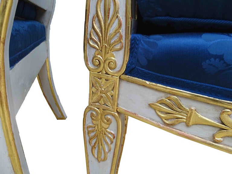 Gorgeous Empire Pair of  Blue Bergeres Armchairs by Jeanselme, France circa 1825 For Sale 2