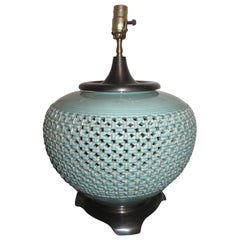 Gorgeous Extra Large Celadon Ceramic Pierced Asian Style Lamp Midcentury